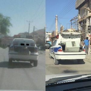 photo ۲۰۱۷ ۰۹ ۰۴ ۱۰ ۳۹ ۲۳ 300x300 حمل غیرمجاز بار توسط ماشین پلیس در خیابان های ایذه