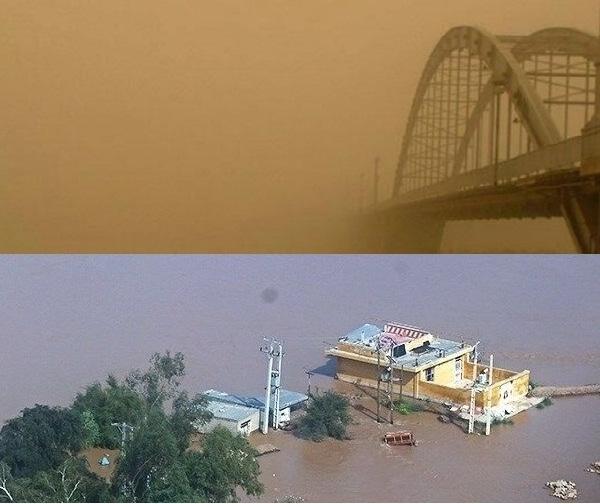 Untituhpioihuklkjoigilled نبرد نفسگیر خوزستان با سیل و گرد و غبار