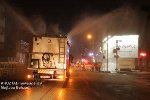 IMG 20200308 WA0025 300x200 استمرار عملیات ضدعفونی و گندزدایی معابر شهر اهواز توسط سازمان آتش نشانی