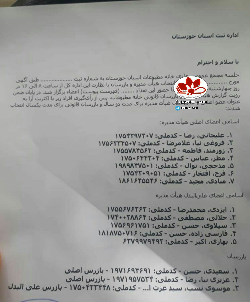 IMG 20200617 045145 433 اعضای هیات مدیره خانه مطبوعات خوزستان انتخاب شدند