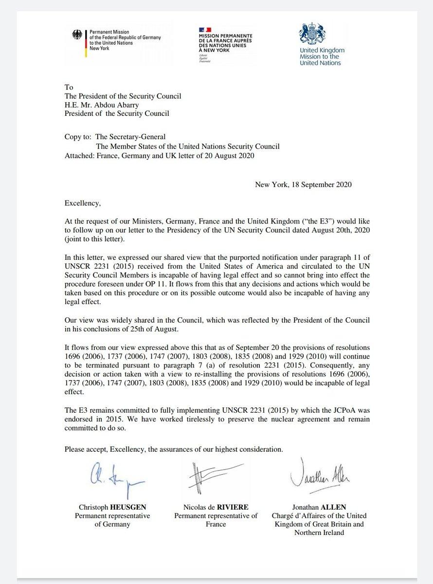 IMG 20200919 063538 543 بیانیه مشترک سه کشور اروپایی: اقدام آمریکا برای بازگرداندن تحریمها علیه ایران فاقد اثر قانونی است