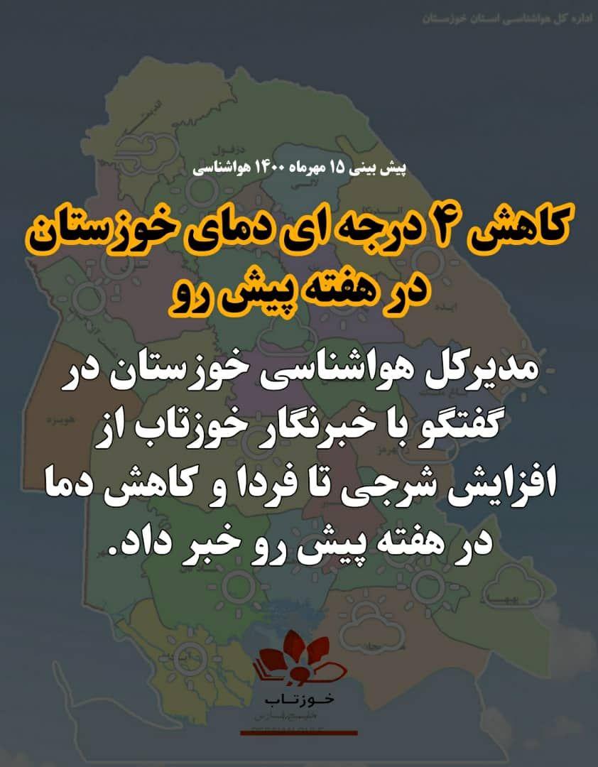 IMG 20211007 142317 116 کاهش ۴ درجه ای دمای خوزستان در هفته پیش رو